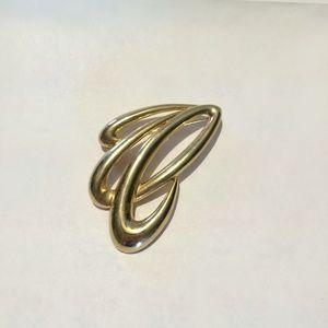Vintage sign M Lent gold tone brooch
